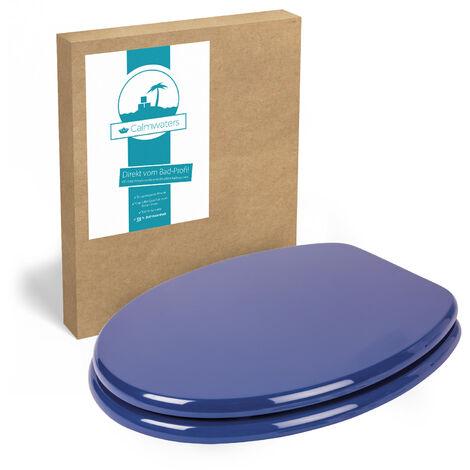 Calmwaters® Blauer WC Sitz mit Holzkern Modern Wellness, Metall-Befestigung, universale O-Form, stabiler Holzkern Toilettendeckel, Komfort Klodeckel, ovale Toilettenbrille, Blau - 26LP2767