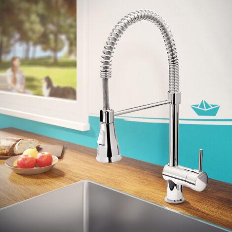 Calmwaters® Design Wasserhahn Küche mit Brause, Küchenarmatur Hochdruck, Spiralfeder, 2-strahlig, 360° drehbar, Spülbrause flexibel, Keramikkartusche, Messing, Chrom Spültisch-Armatur, DVGW, 12PZ3545