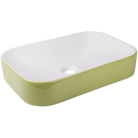 """main image of """"Calmwaters® Eckiger Aufsatz-Waschtisch Weiß-Grün, 60 cm breit, Keramik ohne Überlauf, Waschbecken Exclusive 2 zur Aufsatzmontage, Aufsatzwaschtisch eckig in Weiß & Grün, 05AB5552"""""""