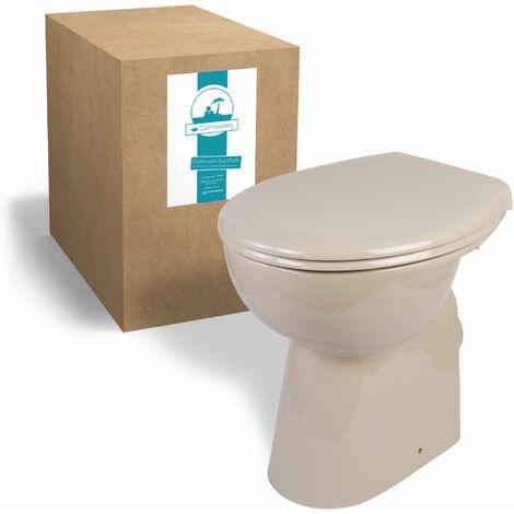 Calmwaters® Elements Wellness - Erhöhtes Stand-WC mit Erhöhung von 7 cm ohne Spülrand in Beige im Set mit Toilettendeckel - 07AB5426