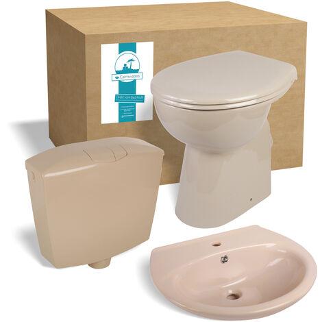 Calmwaters® - Elements Wellness - Erhöhtes Stand-WC ohne Rand im Set mit WC-Sitz, Spülkasten & Waschtisch in Beige - 99000199