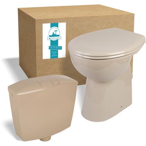 Calmwaters® Elements Wellness - Erhöhtes Stand-WC ohne Spülrand im Set mit Spülkasten und WC-Sitz in Beige-Bahamabeige - 99000188