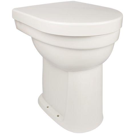 Calmwaters® Erhöhtes Stand-WC als Flachspüler mit senkrechtem Abgang im Set mit Toilettendeckel, + 10 cm - 07AB2245
