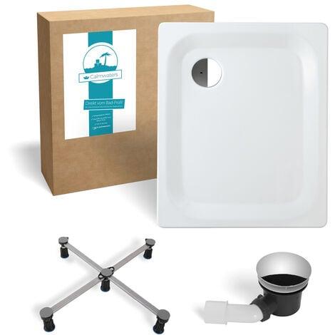 Calmwaters® - Essential 2 - Flache Stahl-Duschtasse in 90 x 75 x 2,5 im Komplettset mit Wannenfuß und Duschablauf - 99000022