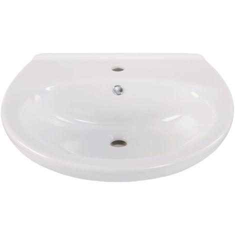 Calmwaters® - Essential - Rundes Waschbecken mit Überlauf aus weißer Keramik für Wandmontage, 65 cm groß - 05AB2266
