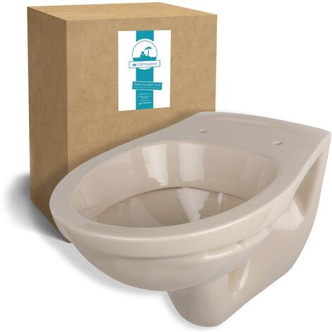 Calmwaters® Hänge-WC in Beige-Bahamabeige als Tiefspüler mit waagerechtem Abgang, Tiefspül-WC - 08AB2307