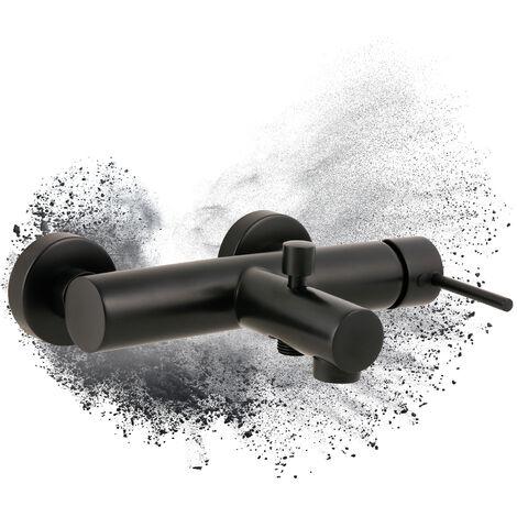 Calmwaters® Honest 2 - Schwarze Einhebel-Wannenarmatur mit rundem Umsteller für die Badewanne zur Aufputz-Wandmontage – 13PZ5620