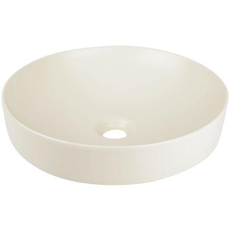 Calmwaters® - Honest Colour - Aufsatzbecken in 40 cm mit runder Form & flacher Höhe aus Keramik in Sandfarben - 05BC5427