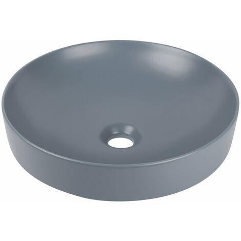 Calmwaters® - Honest Colour - Rundes Aufsatzbecken in 40 cm mit runder Form und flacher Höhe aus Keramik in Petrol - 05BC5428