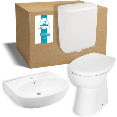 Calmwaters® Komplettset aus erhöhtem Stand-WC ohne Spülrand, WC-Sitz, Spülkasten & 60 cm großes Waschbecken - 99000198