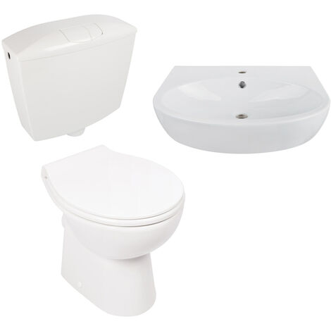 Calmwaters® - Komplettset aus spülrandlosem Stand-WC mit waagerechtem Abgang, WC-Sitz, Spülkasten & Waschtisch - 99000200