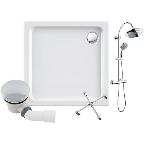 Calmwaters® - Modern Soft - Duschwanne aus Acryl in 80 x 80 cm im Komplettset mit Duschsystem, Wannenfuß und Ablauf - 99000223