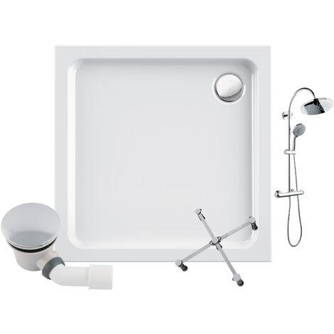 Calmwaters® - Modern Soft - Duschwanne in 90 x 90 cm aus Acryl im Komplettset mit Duschsystem, Wannenfuß und Ablauf - 99000224
