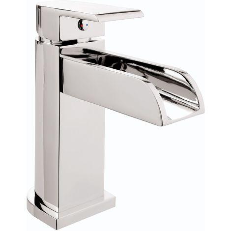 Calmwaters® - Modern Square - Eckige Waschtischarmatur mit Wasserfall-Auslauf & Ablaufgarnitur für Waschbecken - 14PZ3415