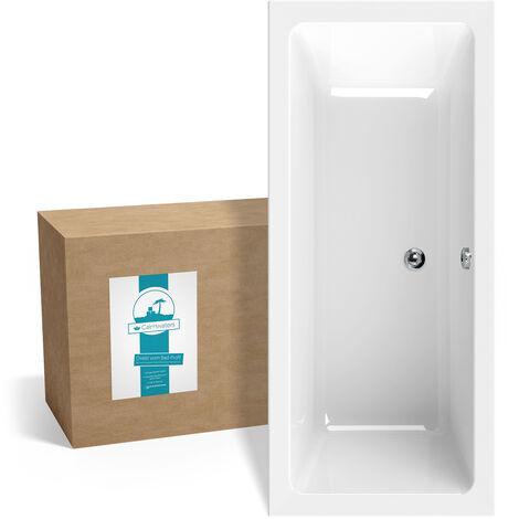 Calmwaters® Rechteck-Badewanne 170x75 cm, Acrylwanne Modern Select, Duo-Badewanne für zwei Personen, ergonomische Körperformbadewanne, Maße 170 x 75 cm, Rechteckbadewanne Weiß - 02SL3315