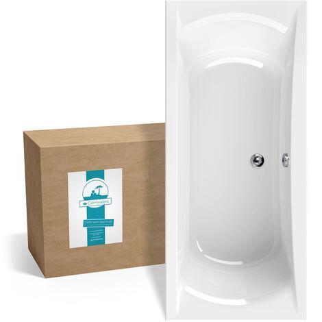 Calmwaters® Rechteck-Badewanne 180x80 cm, Acrylwanne Modern Curved, Duo-Badewanne für zwei Personen, ergonomische Körperformbadewanne, Maße 180 x 80 cm, Rechteckbadewanne Weiß - 02SL3317