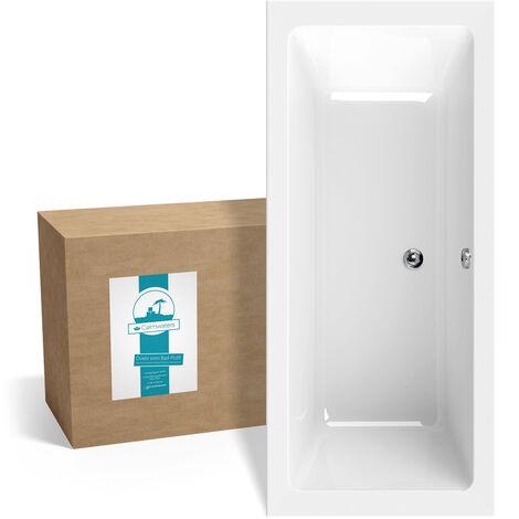 Calmwaters® Rechteck-Badewanne 180x80 cm, Acrylwanne Modern Select, Duo-Badewanne für zwei Personen, ergonomische Körperformbadewanne, Maße 180 x 80 cm, Rechteckbadewanne Weiß - 02SL3316