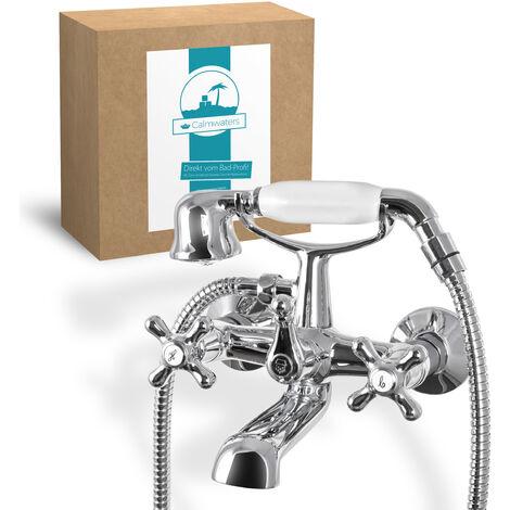 Calmwaters® Retro Cross - Retro Wannenarmatur mit Kreuzgriffen und Handbrause für die Badewanne zur Wandmontage - 13PZ2442