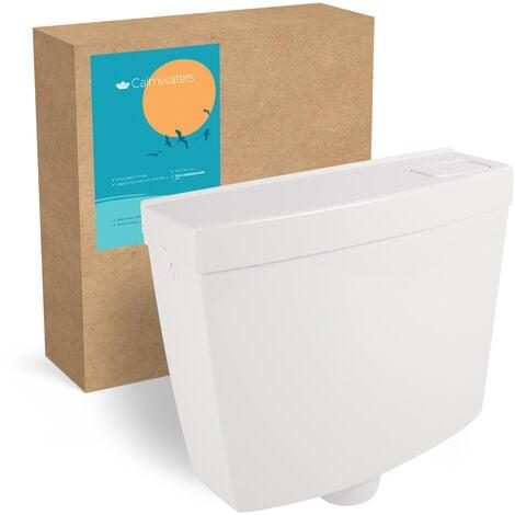 Calmwaters® Schmaler Spülkasten mit Spül-Stopp-Funktion, 6 - 9 Liter Spülmenge, Aufputzspülkasten WC schmal, Spülkasten Weiß für Aufputz-Montage, mit Start-Stopp-Taste, 29HB2718