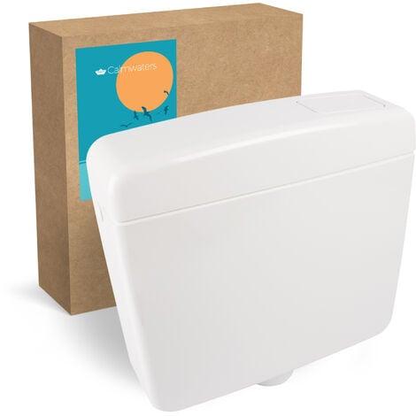 Calmwaters® Schmaler Spülkasten mit Spül-Stopp-Funktion, 6 - 9 Liter Spülmenge, Aufputzspülkasten WC schmal, Spülkasten Weiß für Aufputz-Montage, mit Start-Stopp-Taste, Modell Elements, 29HB2715