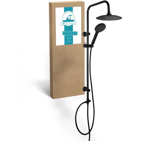 Calmwaters® - Schwarzes Regenduschen-Set mit Kopfbrause und Handbrause zur Aufputz-Wandmontage, Anti-Kalk-Funktion, verstellbare Befestigung, 20DP5760