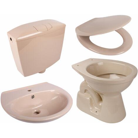 Calmwaters® - Set in Beige-Bahamabeige aus Stand-WC, WC-Sitz mit Absenkautomatik, Spülkasten & Waschbecken - 99000196