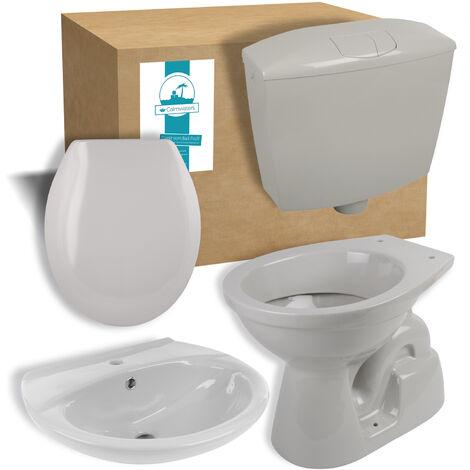 Calmwaters® - Set in Manhattan-Grau aus Stand-WC, WC-Sitz mit Absenkautomatik, Spülkasten und Waschbecken - 99000197