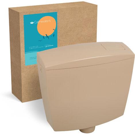 Calmwaters® Spülkasten Beige mit Spül-Stopp-Funktion, 6 - 9 Liter Spülmenge, Aufputzspülkasten WC schmal, flacher Spülkasten Essential, Aufputz, Start-Stopp-Taste, Beige-Bahmabeige, 29HB2719