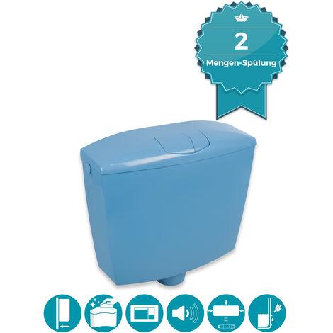 Calmwaters® Spülkasten Blau, 2-Mengen-Spülung, 3,5 & 6 - 9 Liter Spülmenge, Aufputzspülkasten WC schmal, Spülkasten Bermuda-Blau, Aufputz, mit Zwei Mengen Technik, Modell Wellness, 29HB2724