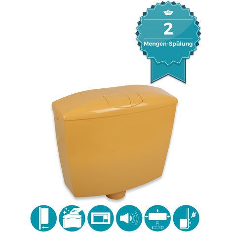 Calmwaters® Spülkasten Curry-Gelb mit 2-Mengen-Spülung, 3,5 & 6 - 9 Liter Spülmenge, Aufputzspülkasten WC schmal, Spülkasten Wellness in Gelb zur Aufputz-Montage, mit Zwei Mengen Technik, 29HB2729