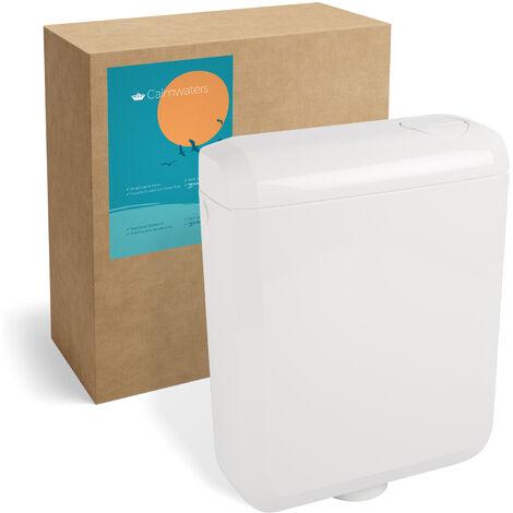 Calmwaters® Spülkasten mit 2-Mengen-Spülung, 3 - 3,5 & 6 - 7 Liter Spülmenge, Aufputzspülkasten WC schmal, Spülkasten in Weiß zur Aufputz-Montage, mit Zwei Mengen Technik, 29HB2732