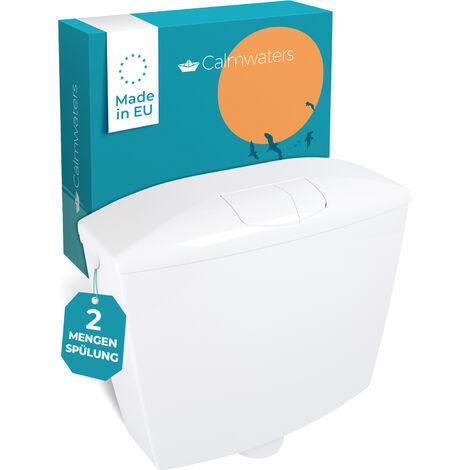 Calmwaters® Spülkasten mit 2-Mengen-Spülung, 3,5 & 6 - 9 Liter Spülmenge, Aufputzspülkasten WC schmal, Spülkasten Weiß für Aufputz-Montage, mit Zwei Mengen Technik, Modell Wellness, 29HB2723