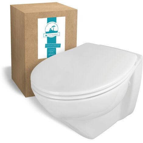 Calmwaters® Spülrandloses, erhöhtes Wand-WC Modern Plus mit Toilettendeckel, + 6 cm Erhöhung, inklusive abnehmbarem WC-Sitz mit Absenkautomatik und Schnellbefestigung, Tiefspüler in Weiß
