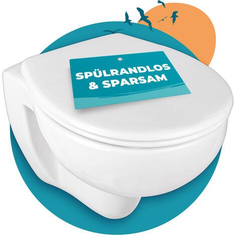 Calmwaters® spülrandloses Hänge-WC Set mit WC-Sitz mit Absenkautomatik, Universal-Anschluss für Vorwandelemente, Tiefspüler, Weiß, Deckel abnehmbar, Metallscharnier, Fast-Fix Befestigung - 08AB3131