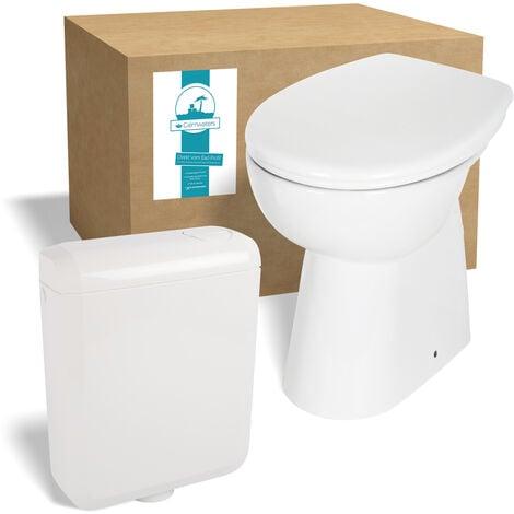 Calmwaters® Spülrandloses Stand-WC mit 7 cm Erhöhung im Set mit WC-Sitz mit Absenkautomatik und Spülkasten - 99000187