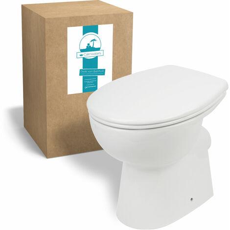 Calmwaters® Spülrandloses Stand-WC mit waagerechtem Abgang als Tiefspüler im Set mit WC-Sitz - 07AB3132