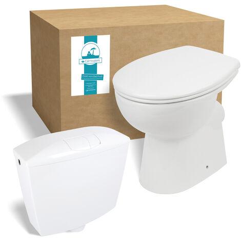 Calmwaters® Spülrandloses Stand-WC mit waagerechtem Abgang im Set mit Toilettendeckel und Spülkasten - 99000189