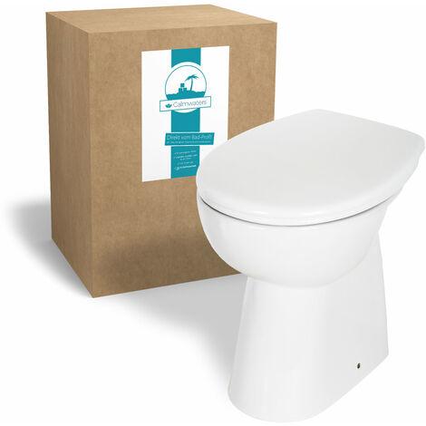 Calmwaters® Spülrandloses Stand-WC, Toilette im Komplettset mit WC-Sitz, Tiefspüler mit Toilettendeckel und Erhöhung von 7 cm, Komfort ohne Spülrand - 07AB3134