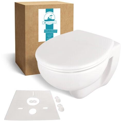 Calmwaters® Spülrandloses Wand-WC im Set mit WC-Sitz & Schallschutz, antibakterieller Toilettendeckel mit doppelter Absenkautomatik & abnehmbar, WC ohne Spülrand, mit Schallschutzmatte, 99000258