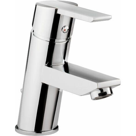 Calmwaters® - Square Angle - Waschtischarmatur mit Zugstangen-Ablaufgarnitur und Keramikkartusche für Waschbecken - 14PZ2537
