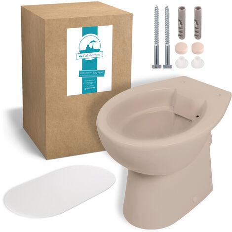 Calmwaters® Stand-WC als Tiefspüler mit waagerechtem Abgang im Set mit Schallschutz und WC-Befestigungsset - 99000213