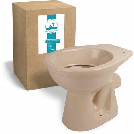 Calmwaters® Stand-WC in Beige-Bahamabeige mit waagerechtem Abgang als Tiefspüler - 07AB2301
