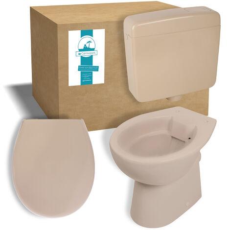 Calmwaters® Stand-WC mit waagerechtem Abgang im Komplettset mit Spülkasten und WC-Sitz in Bahamabeige-Beige - 99000181