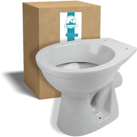 Calmwaters® Stand-WC mit waagerechtem Abgang in Manhattan-Grau als Tiefspüler - 07AB2302