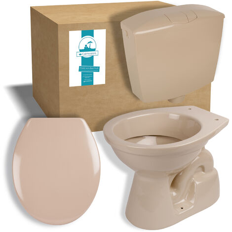 Calmwaters® - Tiefspülendes Stand-WC mit senkrechtem Abgang im Set mit WC-Sitz & Spülkasten in Beige - 99000185