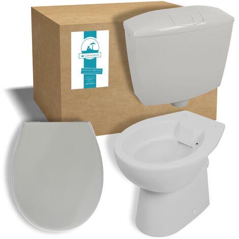 Calmwaters® Tiefspülendes Stand-WC mit waagerechtem Abgang im Set mit Spülkasten & WC-Sitz in Manhattan-Grau - 99000182