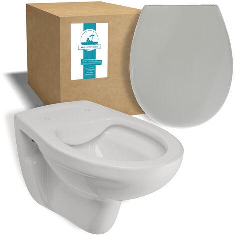 Calmwaters® Tiefspülendes Wand-WC im Set in Manhattan-Grau mit WC-Sitz aus Duroplast mit Absenkautomatik - 99000191