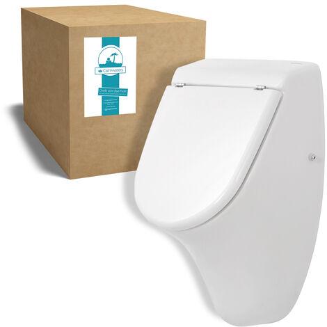 Calmwaters® Urinal mit Zulauf von hinten im Komplettset mit Deckel und Befestigung in Weiß – 46CL5372