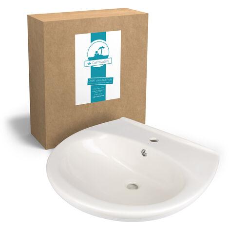 Calmwaters® Waschbecken in Pergamon aus Keramik mit Überlauf & Hahnloch mit Breite von 60 cm zur Wandmontage - 05AB2299