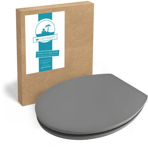 Calmwaters® WC Sitz Grau mit Absenkautomatik, Fast-Fix-Befestigung aus Metall, universale O-Form, stabiler Holzkern Toilettendeckel, samtene Oberfläche, Soft Touch, Klodeckel Anthrazit - 26LP5387